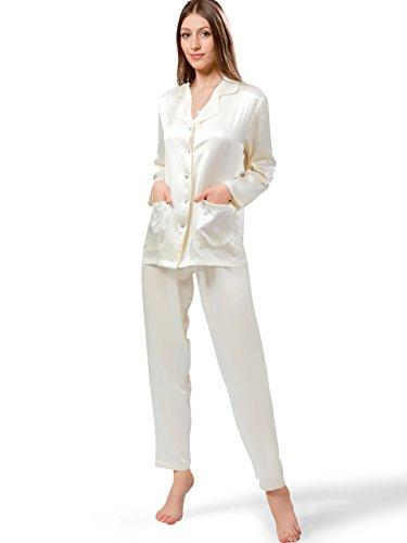 ELLESILK Seide Schlafanzug Damen mit Hosen, Damen Nachtwäsche aus 100% reine Maulbeerseide, Hypoallergen, Cremefarbe, M (Nachtwäsche Seide Schlaf-hose)