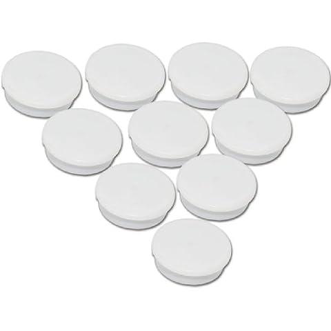 Juego de 10 imanes blancos - Ø 24 mm - imanes de oficina redondos blancos con una fuerza de adhesión de 300 g en pizarras blancas tableros magnéticos tablones de notas
