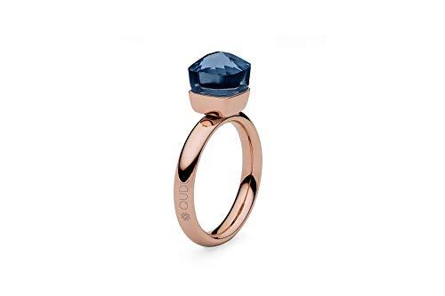 """Qudo""""Firenze"""" small rose Ring mit blauem""""dark blue"""" Stein (54 (17.2))"""
