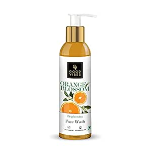Good Vibes Orange Blossom Skin Brightening Face Wash, 120 ml Hydrating Moisturizing Dirt Removal Formula for Healthy Glowing Skin, Helps Reduce Dark Spots & Blemishes, No Parabens & Mineral Oil
