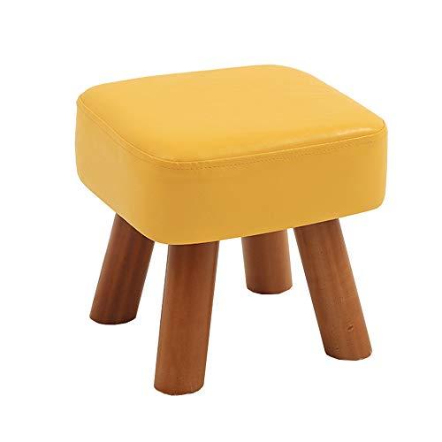 Kleine Hocker Holz Home Fashion Wohnzimmer Erwachsene Bank Kinder Sofa Leder Bank Schuhe Bank (Farbe : Gelb, größe : 28 * 25CM)