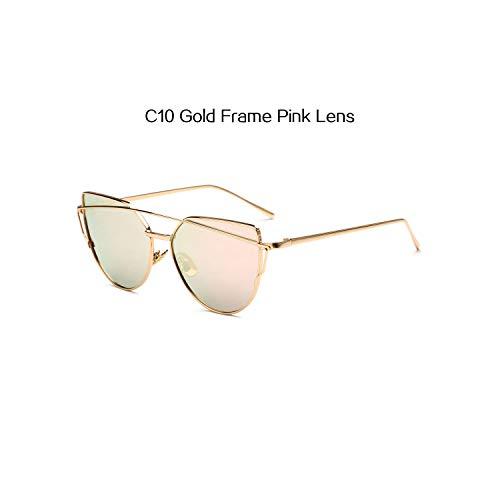 Sport-Sonnenbrillen, Vintage Sonnenbrillen, Classic Women Cat Eye Sunglasses Fashion Flat Panel Twin-Beams Frame Sunglass Female Spiegel Rose Gold Lens Sun Glasses C10