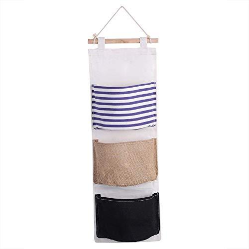 3 Schicht Leinen Aufbewahrungstasche, Kleiderschrank hängen Tasche Wandtasche Spielzeug für zu Hause, um Platz zu sparen Rack(Blau)