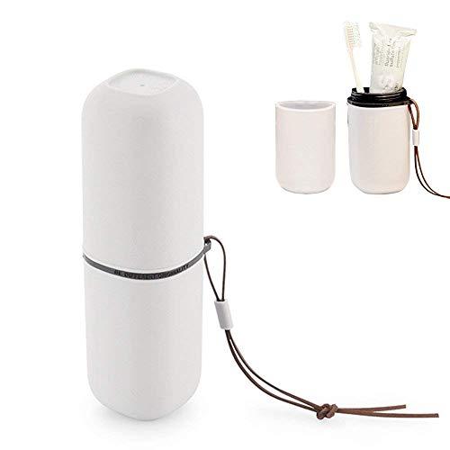 (USAR Reise Zahnputzbecher,Zahnbürste Zahnpasta Halter Wasser Waschbecher Gurgeln Tassen Set mit Hängenden Seil für Home Badezimmer Reisen Wandern Camping (Grauweiß))