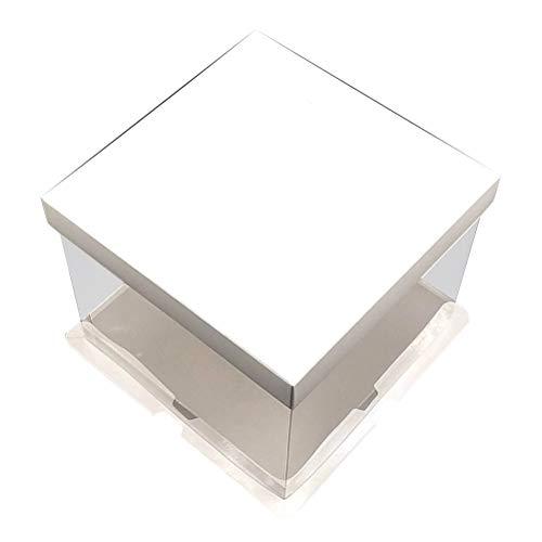 Vosarea 10 Stücke 10 Zoll 3 in 1 Transparent Geburtstagstorte Box Tragbare Bäckerei Geschenkpapier Box für Hochzeit (Weiß)