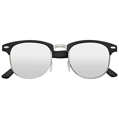 Emblem Eyewear Retro-Mode Halbbild Blitz Spiegel Objektiv Randlose Horned Felge Sonnenbrille (Silber)