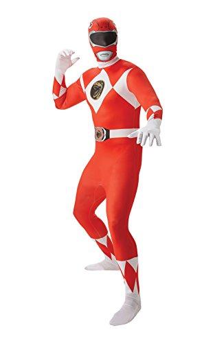 Kostüm Morphin Red Mighty Power Ranger Rangers - Rubie 's offizielles Red Ranger Second Skin Kostüm für Erwachsene, ausgefallenes Kostüm