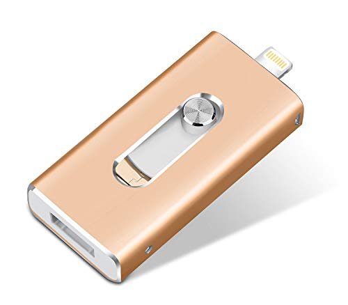 32gb iphone memoria stick usb flash drive esterna storage, tpson pen drive connettore lightning micro otg usb stick (3 in 1) per ipad apple ios mac android computers (32gb, oro)