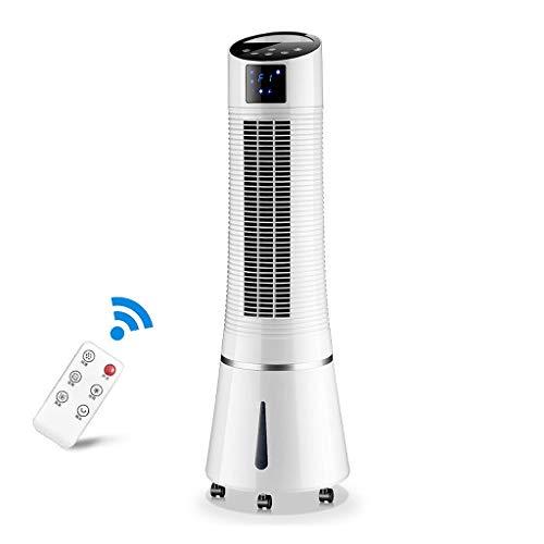 White Tower Lüfterkühlung mit Fernbedienung, Standventilator, Luftkühler mit Luftbefeuchter, leisen Bodenventilatoren, oszillierendem 3-Gang- und 1-8-Stunden-Timer und LED-Touch-Display