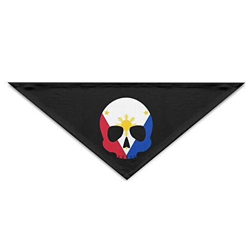 Wfispiy Philippinen-Flaggen-Schädel-Dreieck-Welpen-Hundebandanas-Geburtstags-Schell-Lätzchen waschbares Drucken -