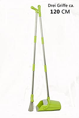 Besen Kehrset mit Kehrbesen und Kehrschaufel Kehrgarnitur Schaufel und Besen mit langem Stiel 120 CM mit ausziehbarem Besen, Grün