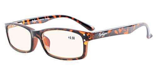 Eyekepper primavera bisagras with UV proteccion, Anti azul rayos, anti reflejante and rasguño resistente Lens ambar tenido lentes computadora gafas tortuga