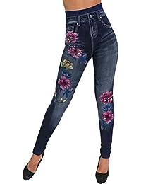 Femme Jean,Legging Imprimé Taille Haute Pantalon Denim Stretchy Pencil  Pants Bringbring d71c5c9fb674