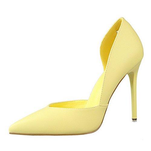 AalarDom Femme Pointu Tire à Talon Haut Couleur Unie Chaussures Légeres Jaune-Ligne de Couture de Machine