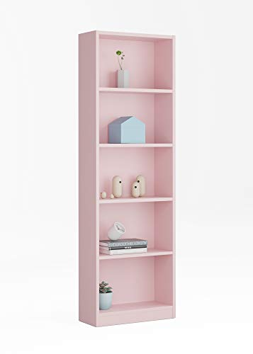 Esidra Libreria 5 Ripiani-Rosa Confetto, 60 x 180 x 30 cm