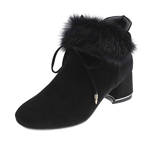 Oksea Damen Kurzschaft Stiefel Damen Knöchel Mode Winter Med Bow Knot Karree Elegant Hoof Heel Zip Boots