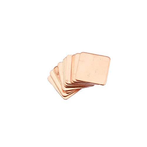 HoganeyVan 10pcs reines Kupfer Messing Kühlkörper Shim Wärmeleitpad Barriere für Laptop-Grafikkarte 15x15mm Schnelle Wärmeableitung