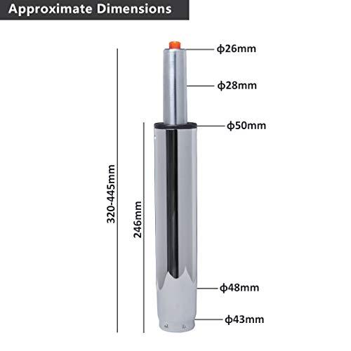 Duhome Gasdruckfeder Gasfeder Gas Lift Höhenverstellung für Stühle bis 180 kg Farbauswahl (35-44 cm, Chrom)