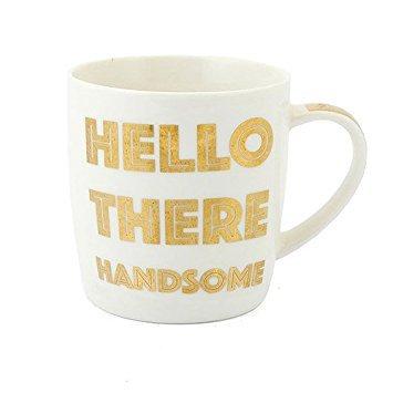 Golden Words Mugs Bonjour, Beau Blanc et doré Funny/Cheeky Mug en Porcelaine Fine avec boîte de présentation