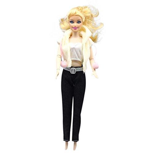 BZLine Puppenkleidung Set Top Hose Hochzeitskleid Puppe Sport Anzug für Barbie (F)