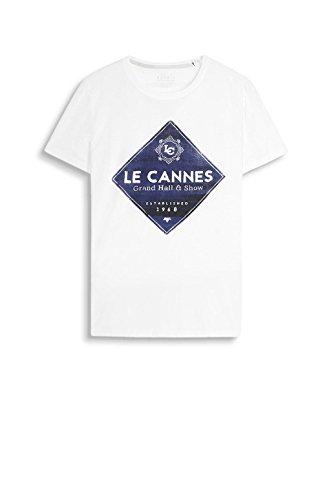 ESPRIT Herren T-Shirt 047ee2k020-Print Weiß (White 100)