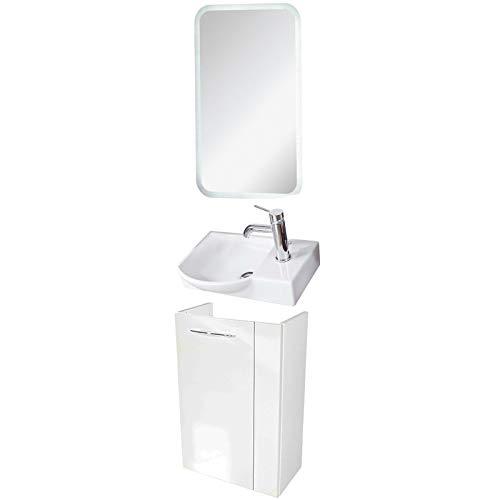FACKELMANN Badmöbel Set Vadea Gäste WC 3-TLG. 45 cm weiß mit Waschbecken Unterschrank & Keramikbecken & LED Spiegelelement