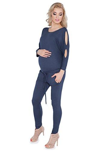 Damen-Schwangerschafts-Jumpsuit mit Taschen, U-Boot-Ausschnitt und offenen Ärmeln, in den Größen 8–14,1081 Gr. 34, graphit - Offene U-boot-ausschnitt