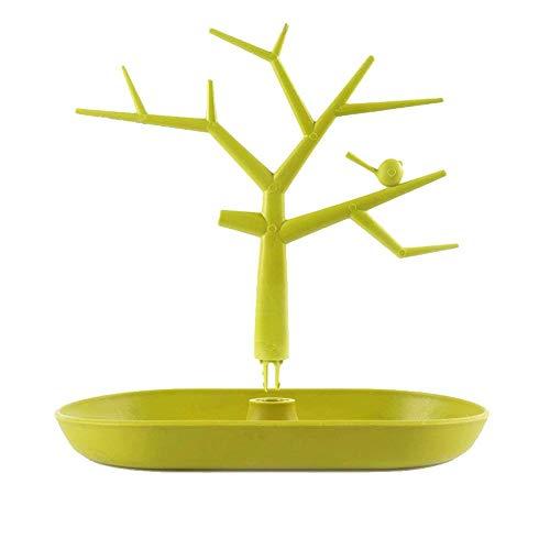 MSYOU Schmuckständer, Kleiner Frischer Vogelbaum, mit Tablett