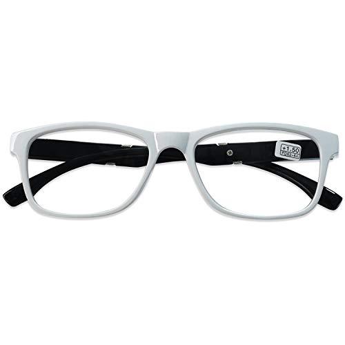 KOOSUFA Lesebrille Herren Damen Retro Lesehilfen Sehhilfe Federscharniere Rechteckige Vollrandbrille Arbeitsplatzbrille UV Schutz Anti Müdigkeit Brille 1.0 1.5 2.0 2.5 3.0 3.5 4.0 (Weiß, 3.5)