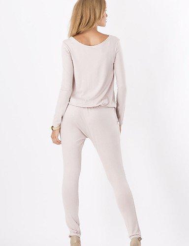 GSP-Combinaisons Aux femmes Manches Longues Décontracté Coton Opaque Micro-élastique beige-s
