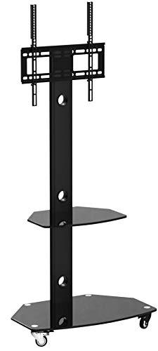 RFIVER Universal TV Ständer Rollbar für 27 bis 55 Zoll Rollwagen Wagen Trolley Rack Fernsehständer Fernseh Standfuss auf Rollen Fernsehtisch Schwenkbar Höhenverstellbar mit 2 Platten TF9001