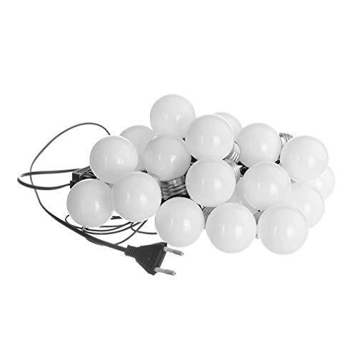 TiooDre 6M 20LED Runde Birnen Festoon-Partei-Streifen-Licht mit Milky White Lampshade BZ531