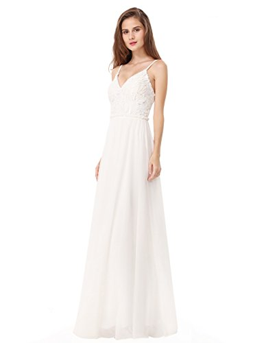 Ever Pretty Women's Elegant Lace Spaghetti Strap Sleeveless Long Evening Party Dress 16UK Cream
