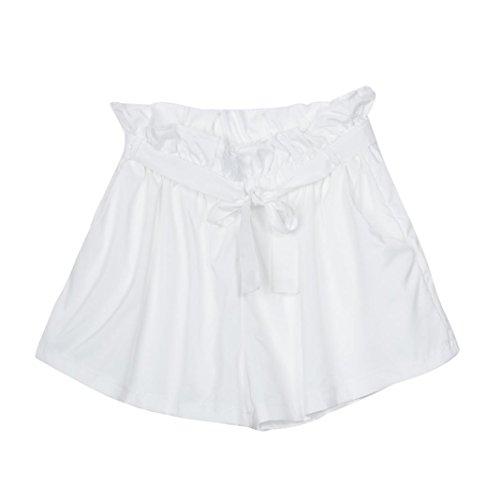 hohe Taille Shorts Shorts weiß mit Gürtel Kurze Hose ()
