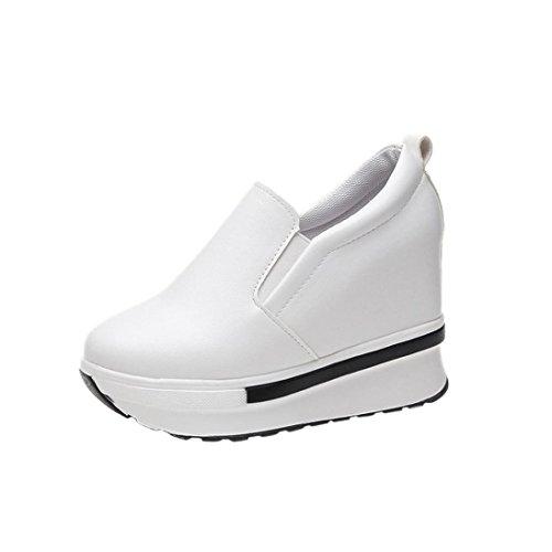 Frühling PU Turnschuhe Damen, DoraMe Frauen Freizeitschuhen Wild Round Toe Sneaker Plateauschuhe Bequeme Flache Einzelne Schuhe (EU:37/CN:35, Weiß) (Zubehör Einlegesohlen Damen)