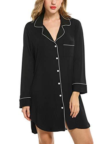 Avidlove Damen Viktorianisch Nachthemd T-shirt Luxus Nachtwäsche- Gr. XL, Langarm 1: Schwarz