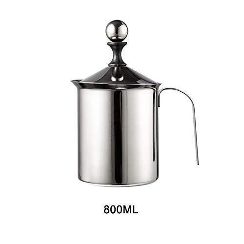 NiQiShangMao 400/800 ML Manuelle Milchaufschäumer Edelstahl Doppelnetz Milchschaum Mesh Kaffee Schäumer Creamer Kaffeemaschine