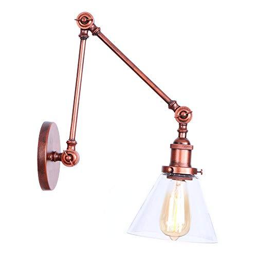 LIGHTLAMPER Free/Adjust/Wandlampe/Vintage Industry/Knopf/Wandleuchte/Metall + Kunststoff/Kunst/Dekoration/Innenbeleuchtung / E27 / Warmweiß/Max 60w / Größe: W200 * H200 * E100 (mm) -