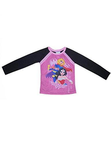 Justice League (Supergirl, Batgirl) Mädchen Nachtwäsche / Pyjama-Top L Rosa u. Schwarz (Batgirl Anzug)