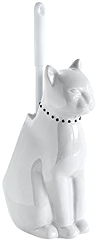 Gelco 706206 Animaux Pot à Balai Chat Céramique et Plastique Onyx 17 x 28 x 29 cm