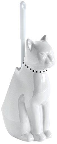 Gelco 707363 Toilettenbürstenhalter, Tiermotiv, Katze, Keramik und Kunststoff, Onyx, 17 x 28 x 29 cm