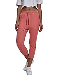 Urban Classics Damen Sweat Capri-Hose, Sporthose Ladies Open Edge Terry Turn Up Pants