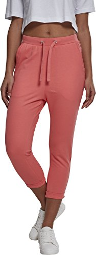Urban Classics Damen Ladies Open Edge Terry Turn Up Pants Sporthose, Rosa (Coral 00092), 50 (Herstellergröße: 5XL) - Coral Edge