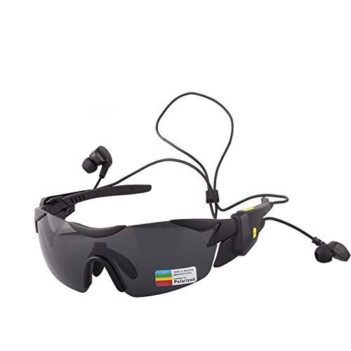 JAY-LONG Bluetooth 4.1-Sportbrillen, Sonnenbrillen Mit Multifunktionaler Sonnenblende Mit Blendschutz, Fahrradwindschutzbrille, USB-LadegeräT,Black