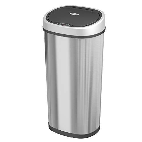1home Infrarot Küchenabfälle Mülleimer Abfalleimer Automatisch Kücheneimer Abfallbehälter Bewegungssensor Edelstahl Chrom 50 L Oval