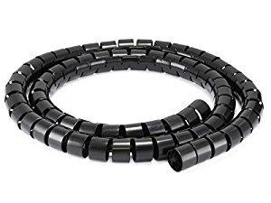 2Meter 5mm ID 6mm OD schwarz Spirale Wrap Kabel ordentlich führt Bindung PC TV CCTV DVD-Audio