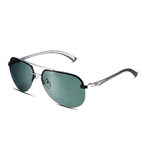 Hmilydyk pour homme Aviator Lunettes de soleil polarisées et étui Premium Style militaire Pilot Full Metal Cadre UV400Lunettes Nuances, Gun Grey Frame with Green Lens