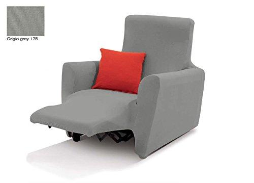 Capitan Casa, Sesselüberwurf, Sesselbezug Easy Long für verstellbare Sessel, unifarben  Poltrona Grigio 175