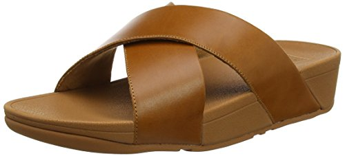 FitFlop Damen Lulu Cross Slide Peeptoe Sandalen, Braun (Leather 098), 40 EU -