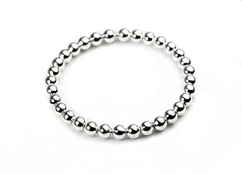 Plata Esterlina anillo de apilamiento fino con cuentas delicado con caja de regalo de - Elección de tamaños